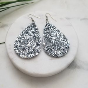 5 for $25 Silver Glitter Leather Leaf Earrings